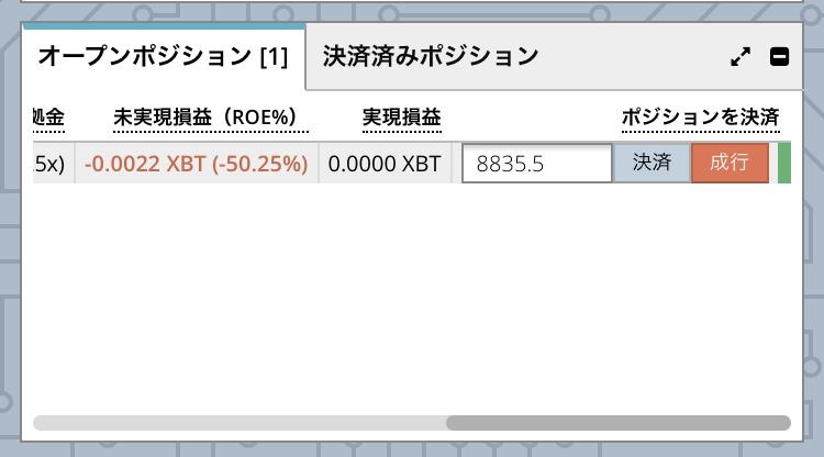 bitmexオープンポジション、マイナス