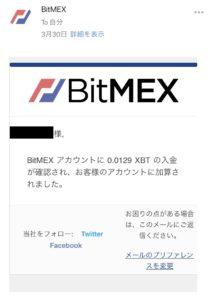 bitmex入金完了画面